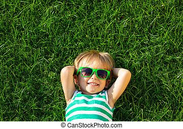 아이, 봄, 있는 것, 행복하다, 풀, 녹색