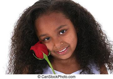 아이, 소녀, 꽃
