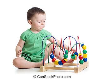 아이, 소녀, 노는 것, 와, 교육 장난감