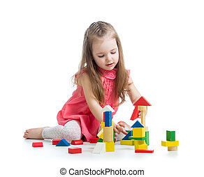아이, 소녀, 노는 것, 와, 블록, 장난감, 위의, 백색 배경