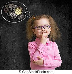 아이, 소녀, 에서, 안경, 와, 밝은 아이디어, 서 있는, 공간으로 가까이, 학교, 칠판