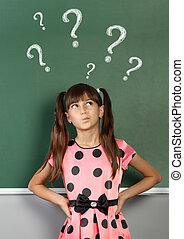 아이, 소녀, 와, 물음표, 통하고 있는, 학교, 칠판