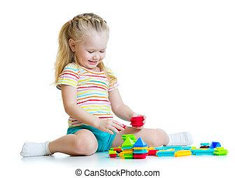 아이, 소녀, 와, 장난감 블록, 고립된