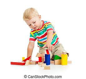 아이, 소년, 노는 것, 나무로 되는 장난감