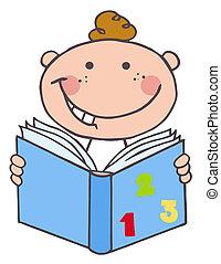 아이, 소년 독서, a, 책
