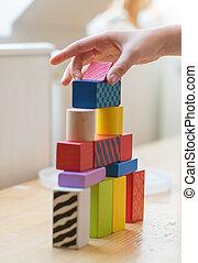 아이, 손, 노는 것, 와, 장난감, blocks.