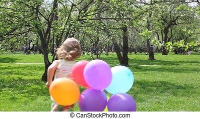 아이, 실행, 통하고 있는, 공원