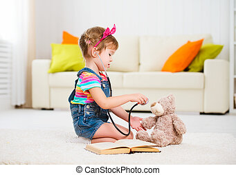 아이, 어린 소녀, 노는 것, 의사