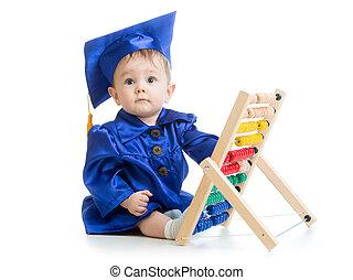 아이, 와, 주판, toy., 개념, 의, 시간 전에, 학습, 아기