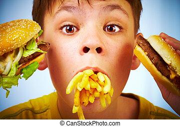 아이, fast, 음식.