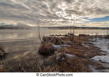 아침, 가을 조경, 통하고 있는, 그만큼, 호수