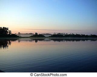 아침, 호수