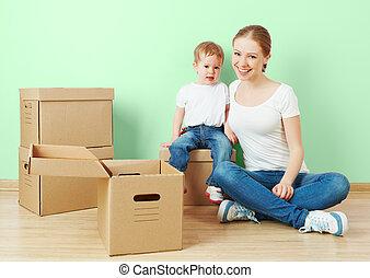 아파트, 딸, 가족, 상자, 어머니, 아기, 판지, 빈 광주리, 행복하다