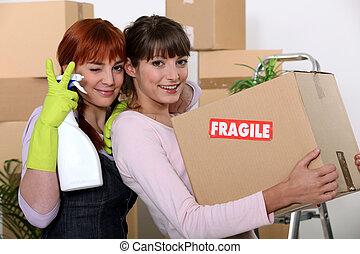 아파트, 2, 여자 친구, 그들, 배열, 새로운