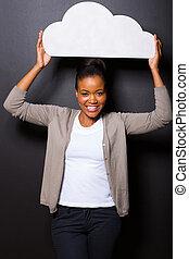 아프로형 미국 여성, 보유, 제쳐놓고 그 자리를 차지하다, 종이, 구름