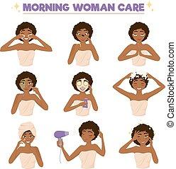 아프로형 미국 여성, 아침 일과, 아이콘, 세트