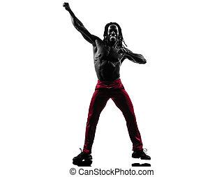 아프리카인 남자, 운동시키는 것, 적당, zumba, 댄스, 실루엣