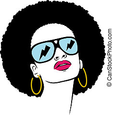아프리카 머리, 히피, 여자, 팝 아트