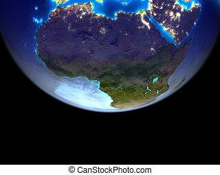 아프리카, 통하고 있는, 지구, 에서, 공간