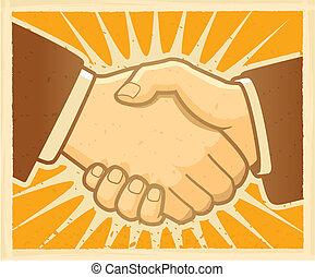 악수, 동의, 협정, 계약