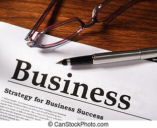 안경, 파일, 사업, 펜, 테이블