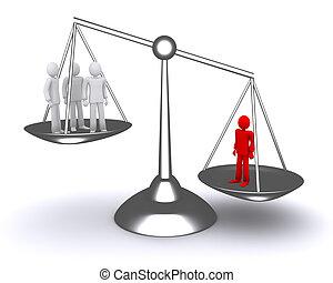 안에서 사람, 균형, 권력이 있는, 의논, 법, 지도자