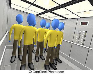 안에서 사람, 엘리베이터