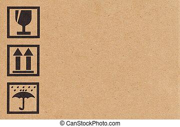 안전, 아이콘, 통하고 있는, 종이 박스, 배경
