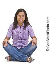 앉아 있고 있는 여성, 교차하는 다리
