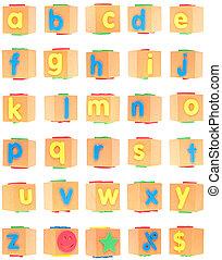 알파벳, 세트, 통하고 있는, 거품, 구획
