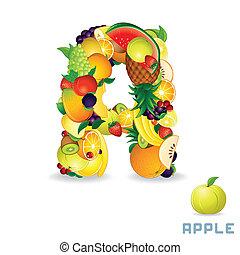 알파벳, 에서, fruit., 편지