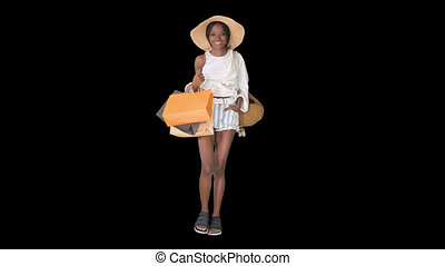 알파 채널, 쇼핑, 걷기, 유행, 젊은 숙녀, afro, 은 자루에 넣는다