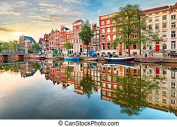 암스테르담, 네덜란드, 파노라마, 떠는, 반영, 운하, 집