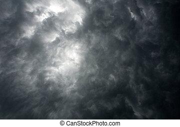 암흑, 극적인 하늘, 와, 폭풍우 구름