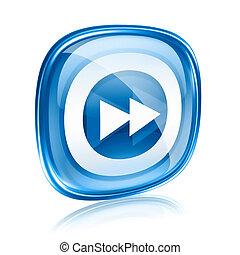 앞으로, 아이콘, 푸른 글래스, 고립된, 백색 위에서, 배경.