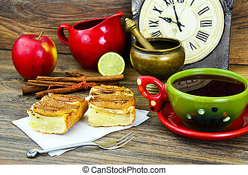 애플, 컵, 차, 파이, 나무가 우거진, backfround