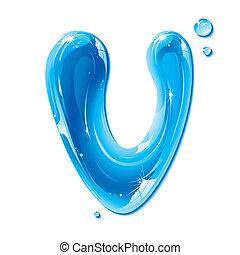 액체, 수도, -, 물, 편지, v