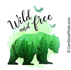 야생의, 녹색, 실루엣, 곰