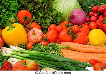 야채, 과일, 상쾌한, 배열