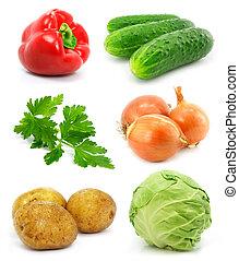 야채, 백색, 고립된, 수집, 과일
