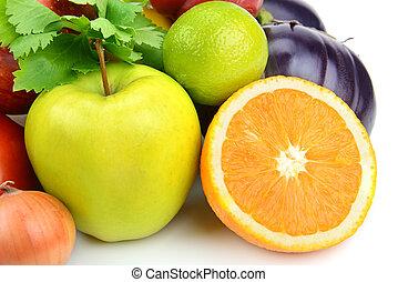 야채, 백색 배경, 과일