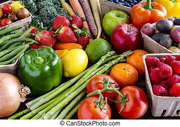 야채, 분류된, 배경, 과일