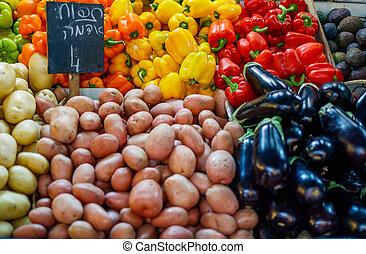 야채, 시장, 농부
