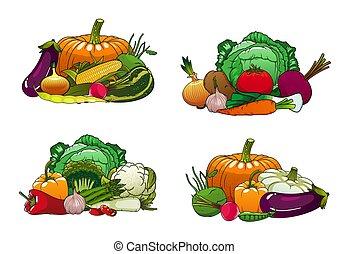 야채, 채소, 농장, 양배추, 시장
