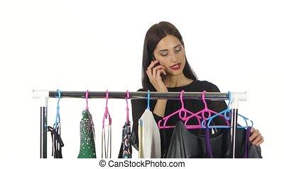 약, 쇼핑하고 있는 여성, 말하는 것, 가격, 전화, 선, store., 백색, 천