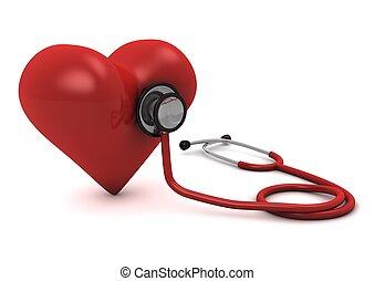 약, 심장, 컴퓨터, 배경, 고립된, 3차원, 생성된다, 하얀 빨강, 청진기