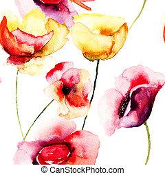 양귀비, 다채로운, 삽화, 꽃, 수채화 물감