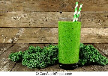 양배추의 일종, smoothie, 건강한, 향하여, 시골풍, 유리, 나무, 녹색의 배경