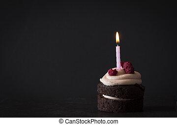 양초, 나무딸기, 초콜릿 과자, 생일, 컵케이크