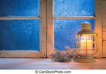 양초, 서리로 덥는, 창문, 크리스마스